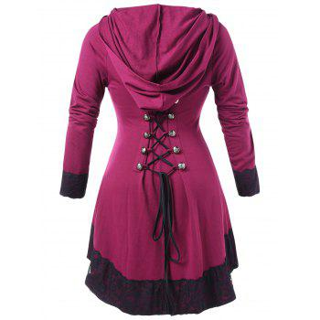 Plus Size Lace Panel High Low Hoodie à capuche - Rouge Rose 4X