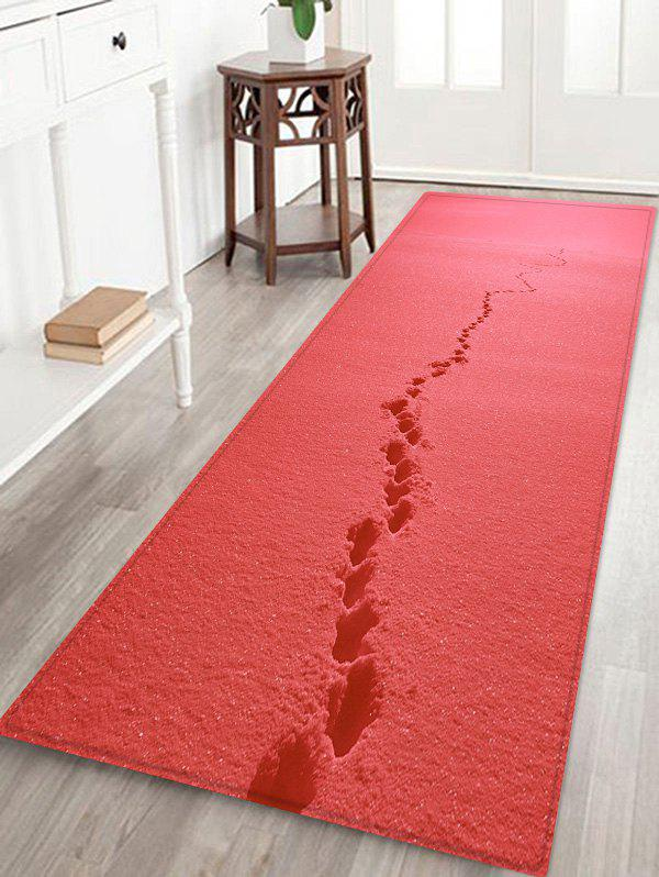 Footprint In Snow Pattern Anti-skid Flannel Area Rug