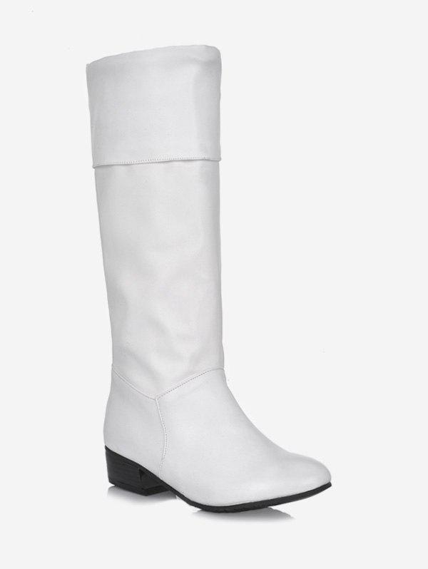 Plus Size Solid Color Fold Over Mid Calf Boots - WHITE 38