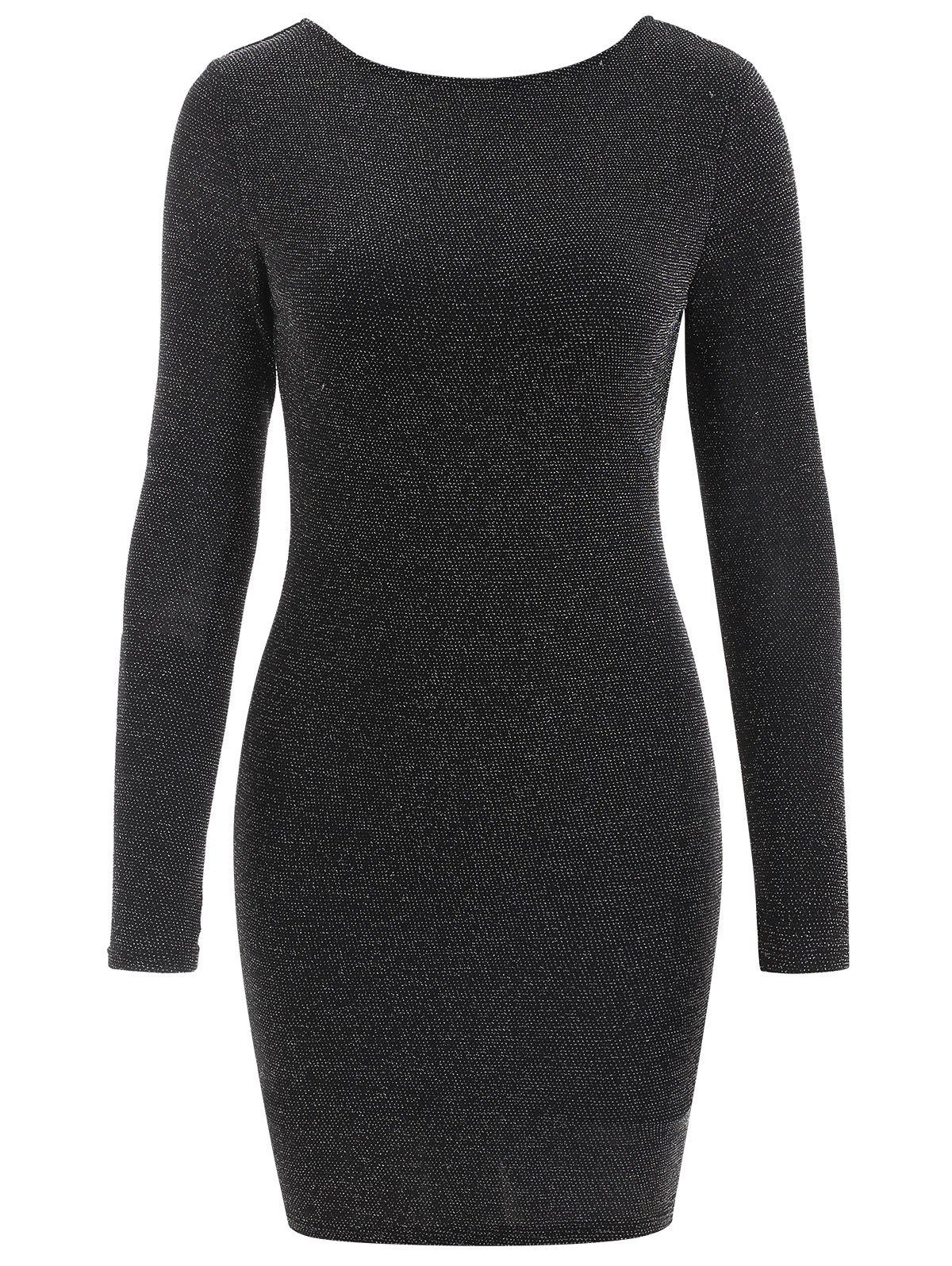 Backless Sparkly Bodycon Dress - BLACK M