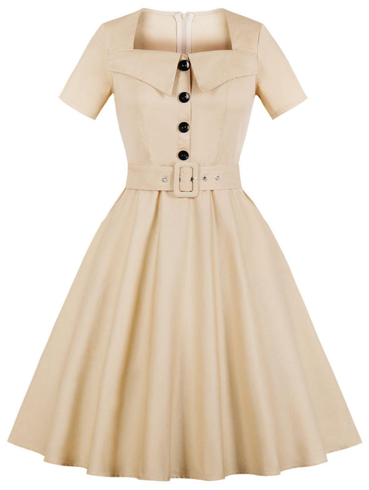 Plus Size Short Sleeve Square Neck Swing Dress - BLANCHED ALMOND 3X