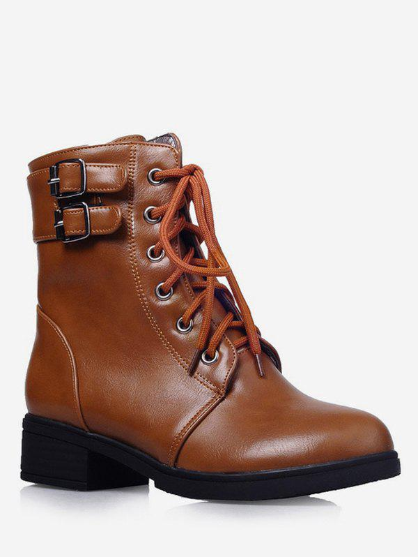 Plus Size Lace Up Buckle Strap Ankle Boots - BROWN 43