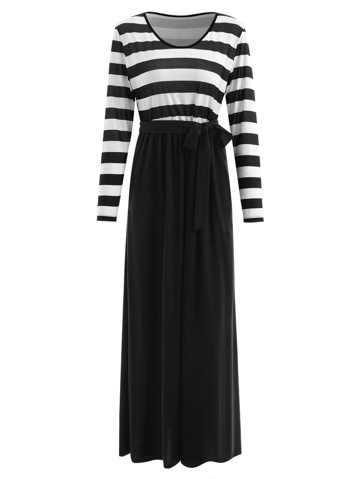 Long Sleeve Striped Panel Maxi Dress - BLACK M