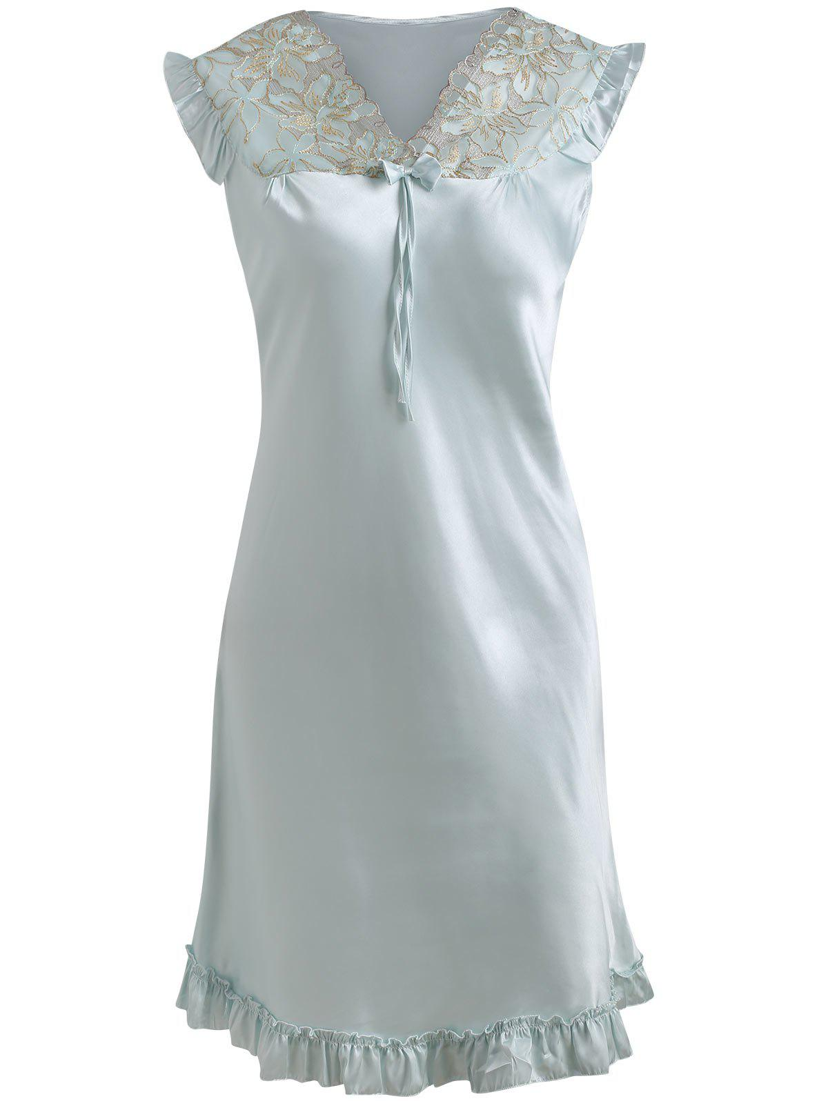 Satin Flounce Sleeping Dress - LIGHT CYAN 4XL