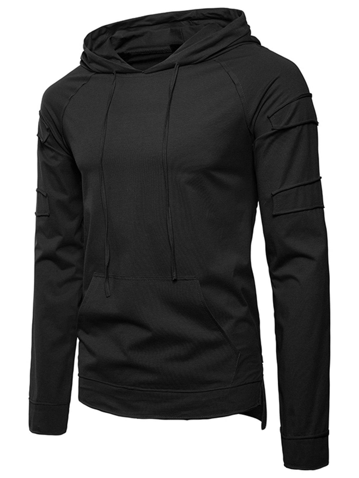 Pouch Pocket Panel Design Pullover Hoodie - BLACK L