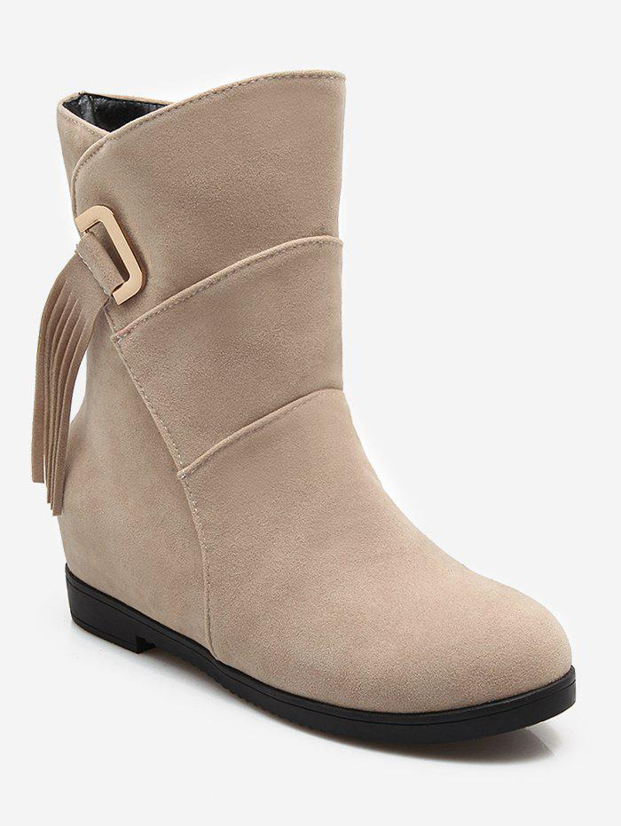 Plus Size Tassels Sewing Ankle Boots - BEIGE 39