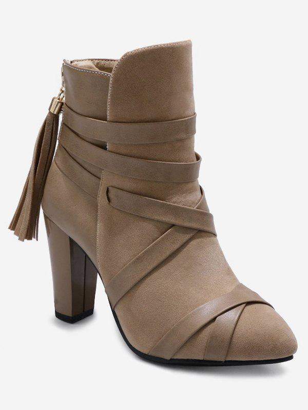 Plus Size Cross Strap Pointed Toe Ankle Boots - LIGHT KHAKI 39