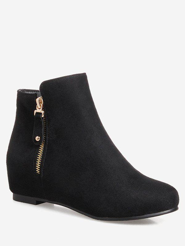 Plus Size Suede Solid Color Ankle Boots - BLACK 40