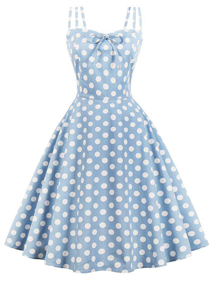 Vintage Polka Dot Pin Up Dress - BLUE GRAY L