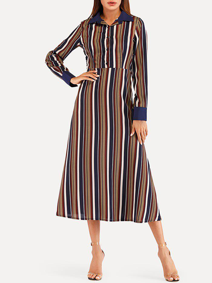 Striped Midi High Waist Dress - multicolor S