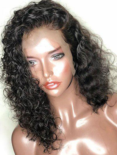 Free Part Medium Curly Synthetic Lace Front Wig - BLACK 16INCH
