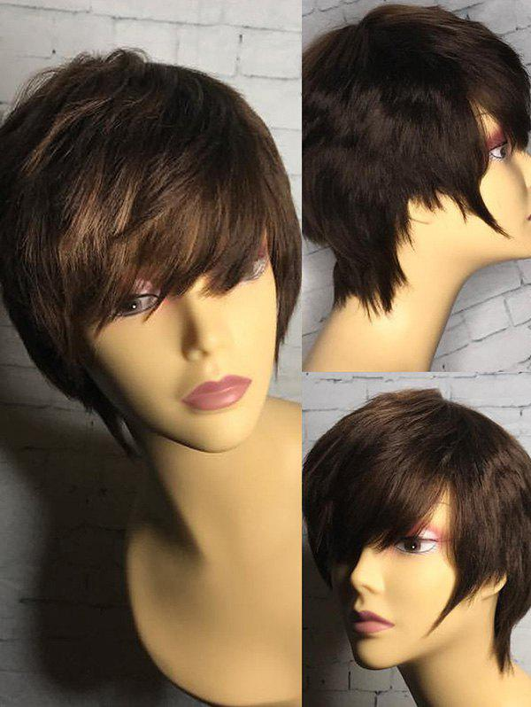 Short Inclined Bang Straight Heat Resistance Synthetic Wig - DEEP BROWN