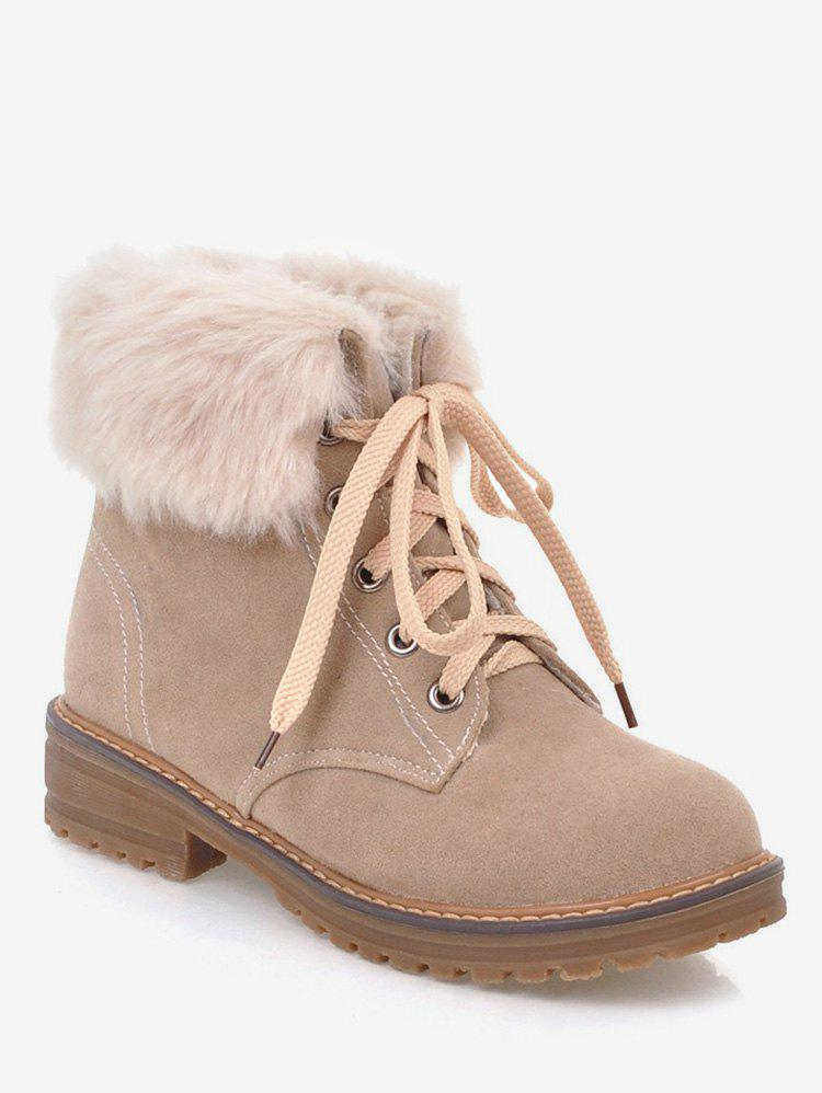 Plus Size Faux Fur Chunky Heel Short Boots - LIGHT KHAKI 42
