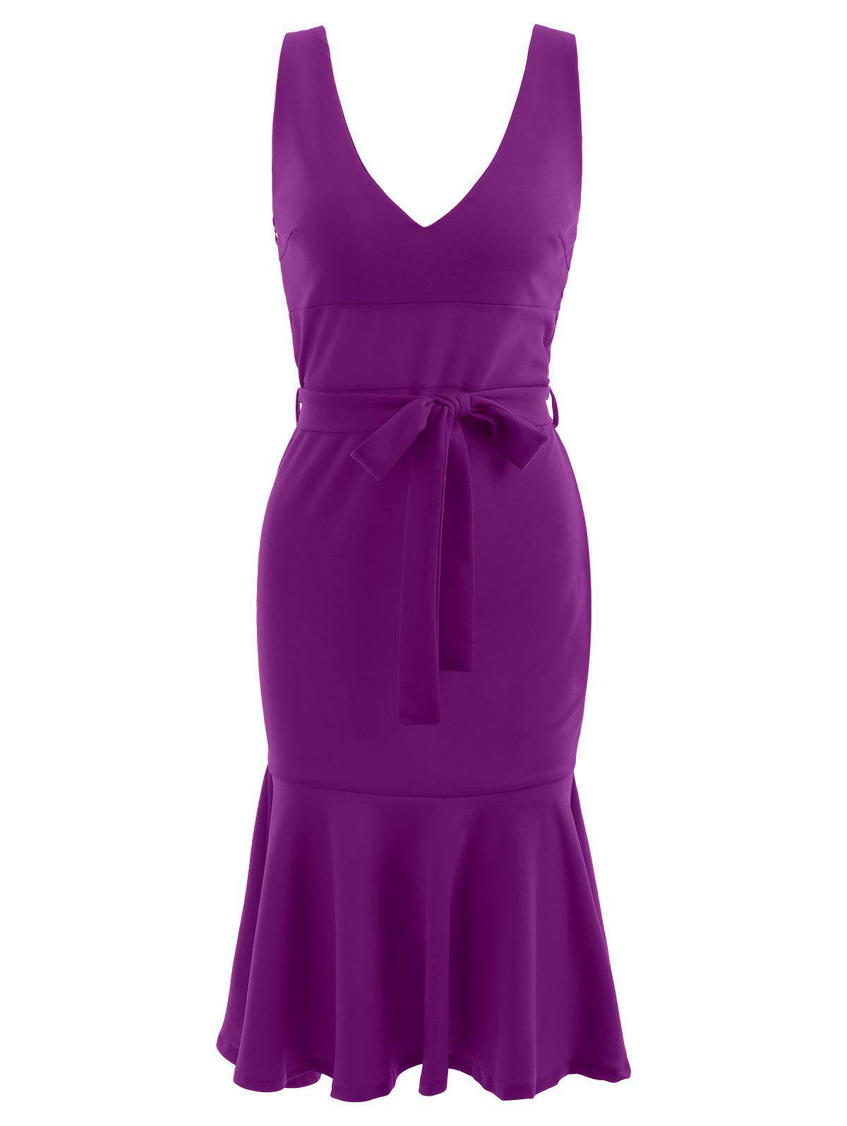 Ruffle Hem Plunge Mid Calf Dress - PURPLE S