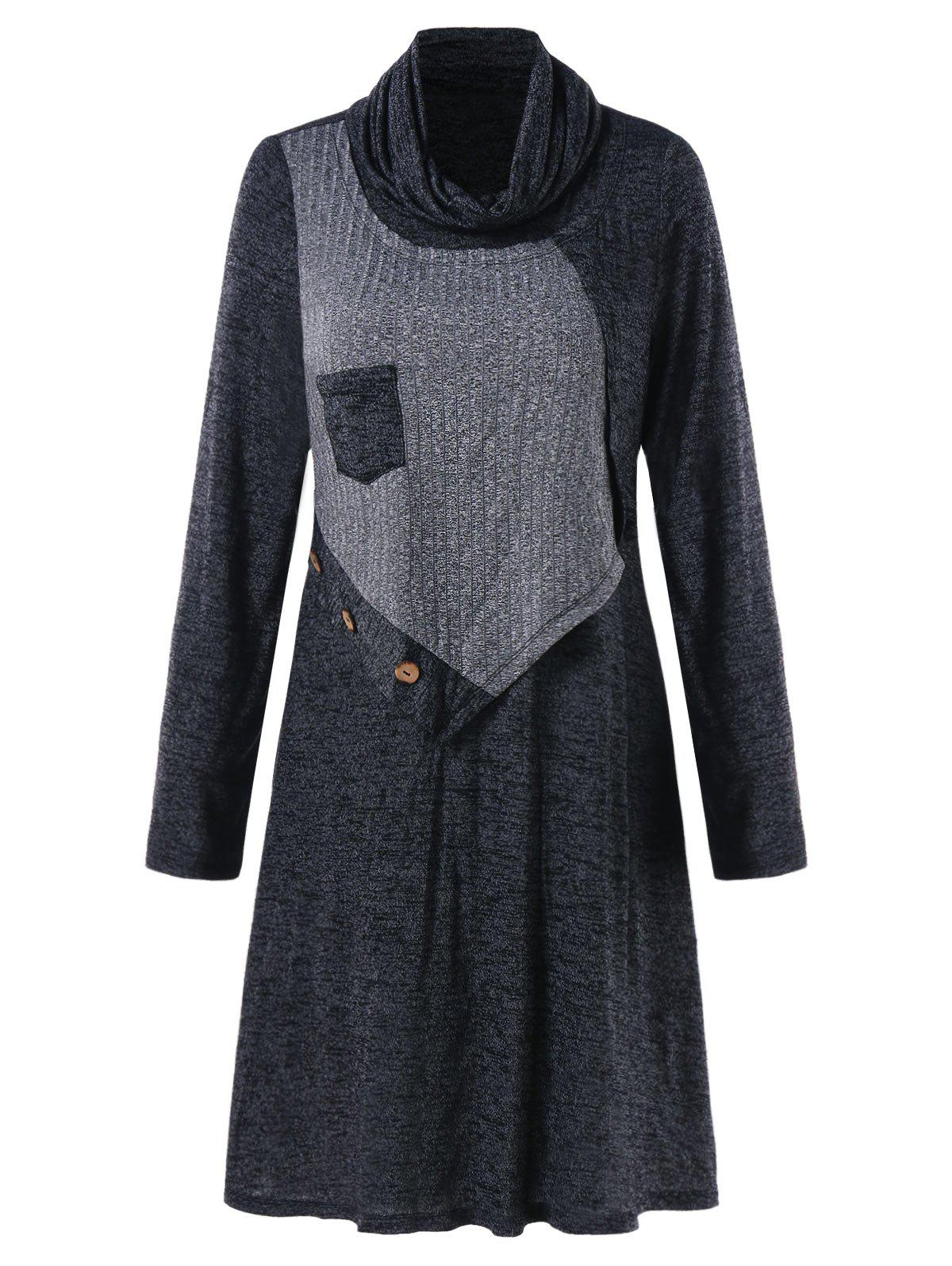 Turtleneck Marled Swing Dress - DARK GRAY XL