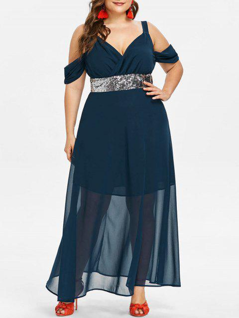 Plus Size Empire Waist Mesh Flowy Dress - CADETBLUE 2X