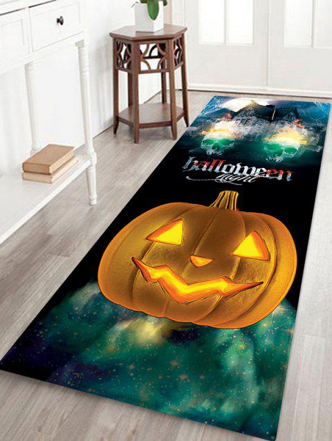 Tapis de zone de flanelle anti-dérapant de Halloween Night Castle Pattern - multicolor W16 X L47 INCH