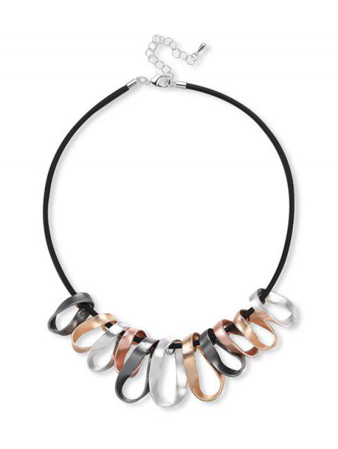 Twisted Circle Statement Necklace - BLACK