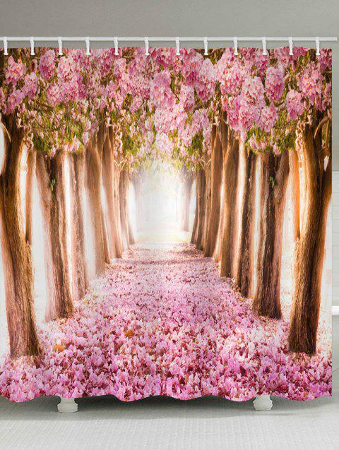 Flower Tree Pattern Waterproof Shower Curtain - PINK W71 X L71 INCH