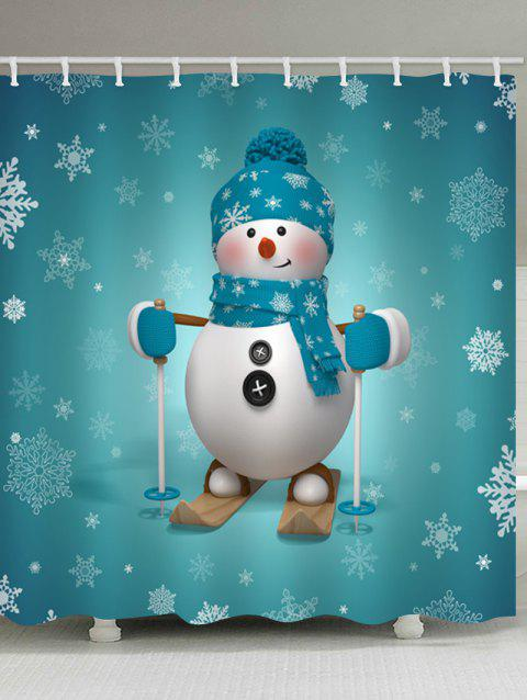 Christmas Snowman Skier Print Waterproof Shower Curtain - MACAW BLUE GREEN W65 X L71 INCH