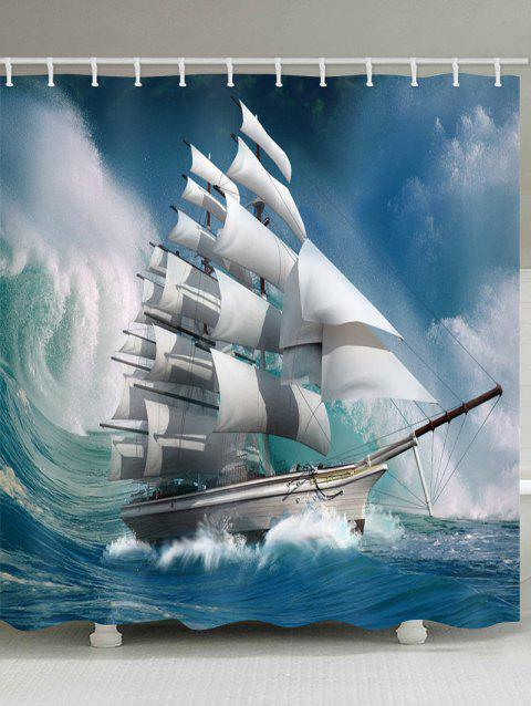 Wave Sailboat Pattern Waterproof Shower Curtain - GLACIAL BLUE ICE W71 X L79 INCH
