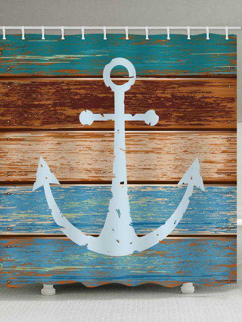 Anchor Wooden Print Waterproof Shower Curtain - multicolor W71 X L71 INCH