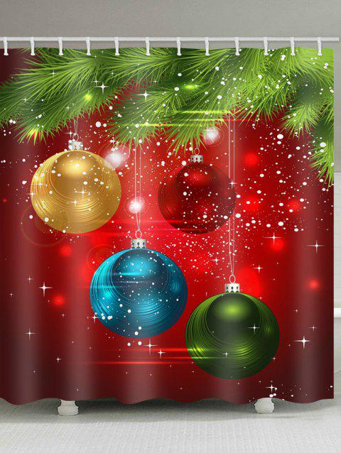 Coloful Christmas Ball Pattern Shower Curtain - multicolor W71 X L79 INCH