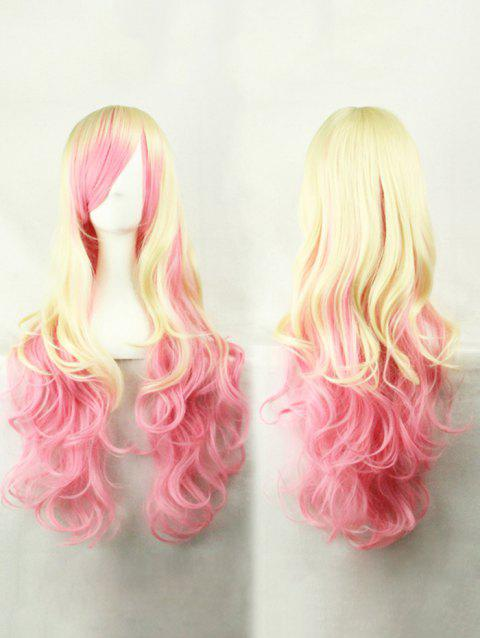 Long Inclined Bang Colormix Rainbow Wavy Party Synthetic Wig - multicolor