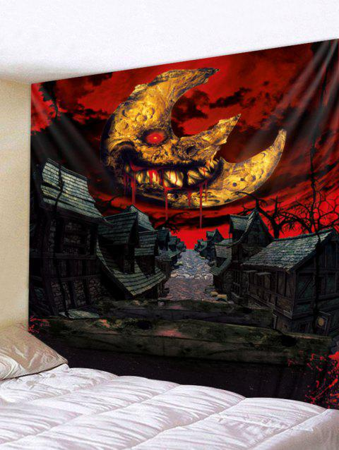 Art mural tapisserie d'Halloween Moon Town - multicolor W91 X L71 INCH