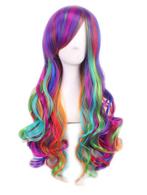 Long Side Bang Rainbow Wavy Cosplay Synthetic Wig - multicolor