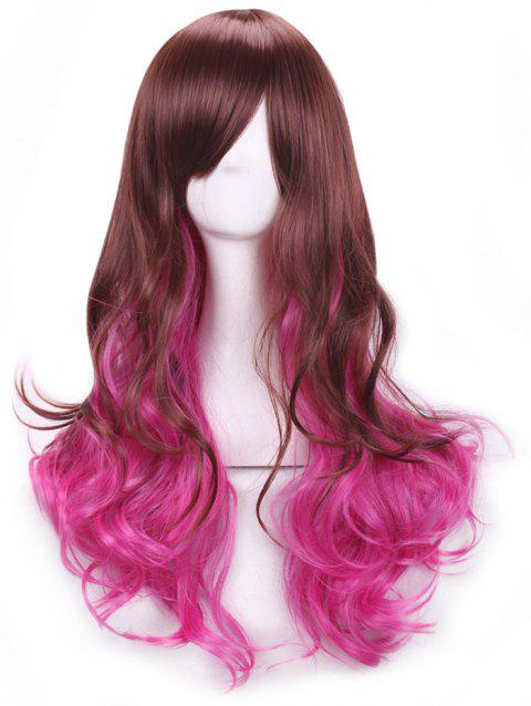 Long Inclined Bang Wavy Coormix Lolita Synthetic Wig - multicolor