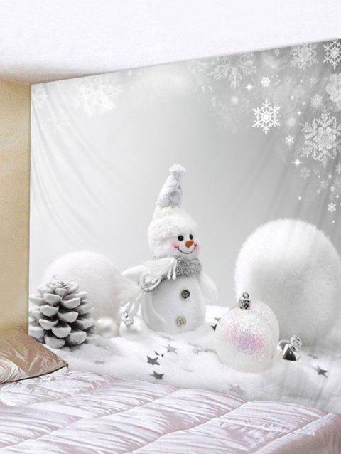 Christmas Snowman Ball Print Tapestry Wall Art - WHITE W91 X L71 INCH