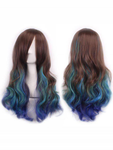 Long Inclined Bang Colormix Wavy Party Cospaly Synthetic Wig - multicolor