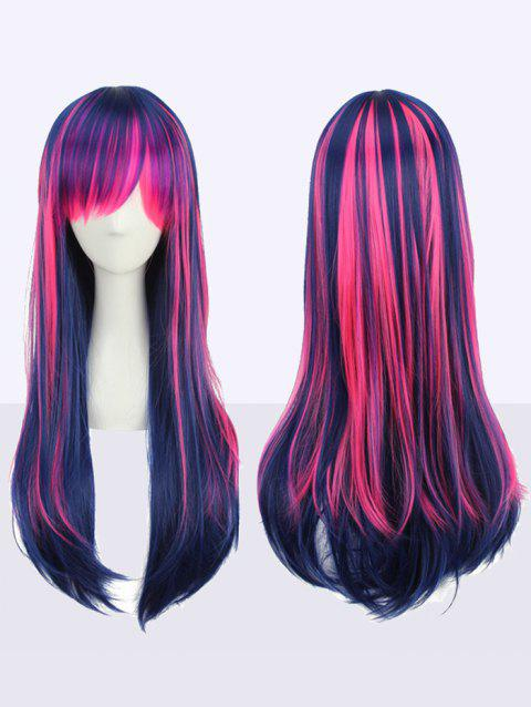 Long Inclined Bang Rainbow Straight Lolita Cosplay Synthetic Wig - multicolor