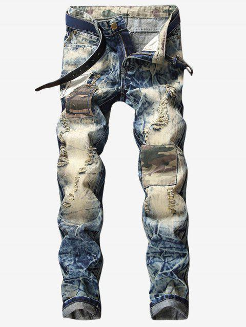Faded Wash Camouflage Panel Destroyed Jeans - JEANS BLUE L