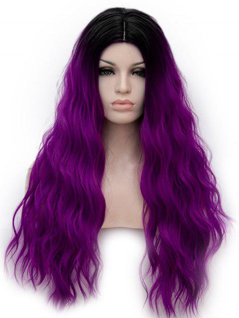 Middle Part Ombre Long Natural Wavy Anime Party Synthetic Wig - multicolor B