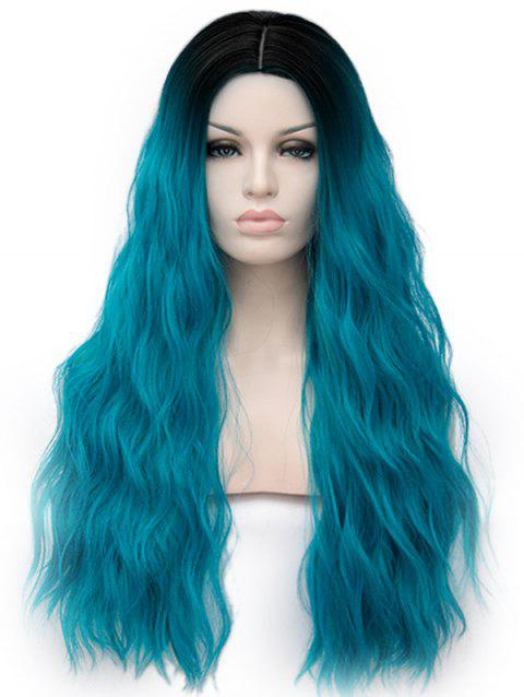 Middle Part Ombre Long Natural Wavy Anime Party Synthetic Wig - multicolor A