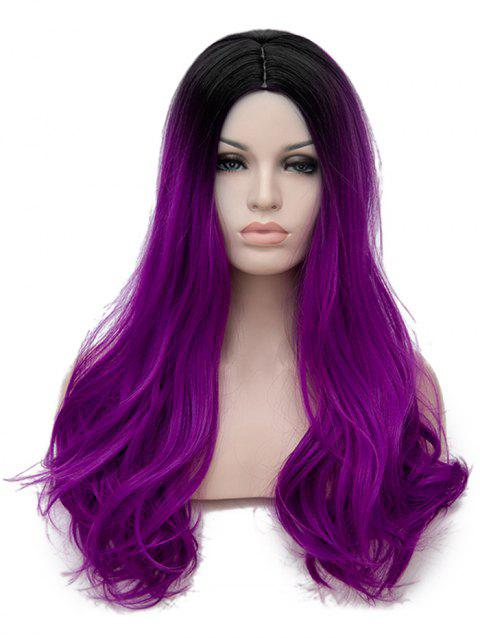 Long Center Parting Colormix Straight Cosplay Party Synthetic Wig - multicolor C