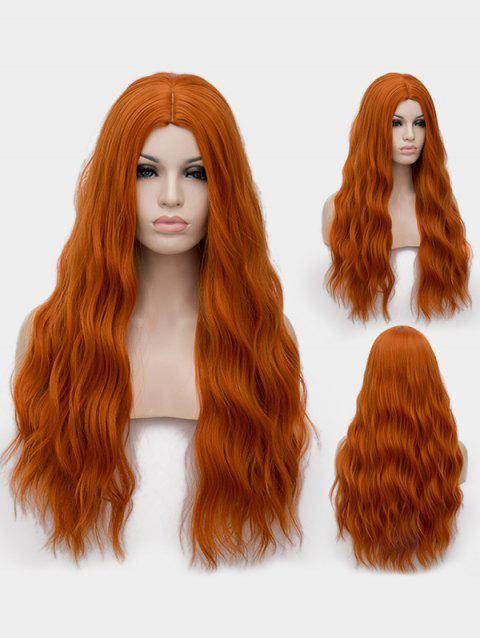 Middle Part Long Natural Wavy Synthetic Anime Cosplay Wig - TANGERINE