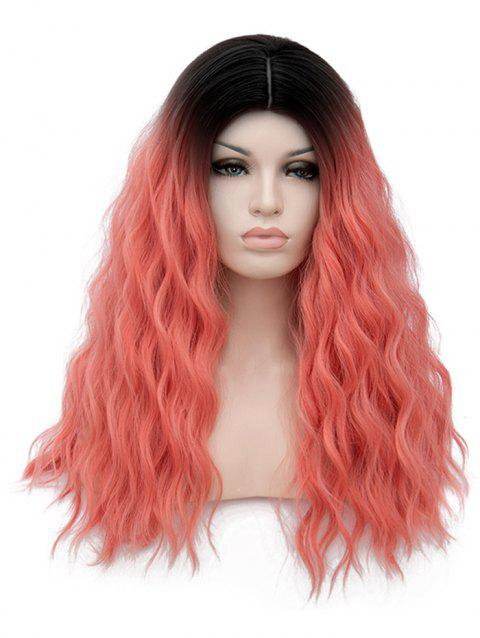 Long Middle Part Natural Wavy Cosplay Party Anime Synthetic Wig - multicolor F