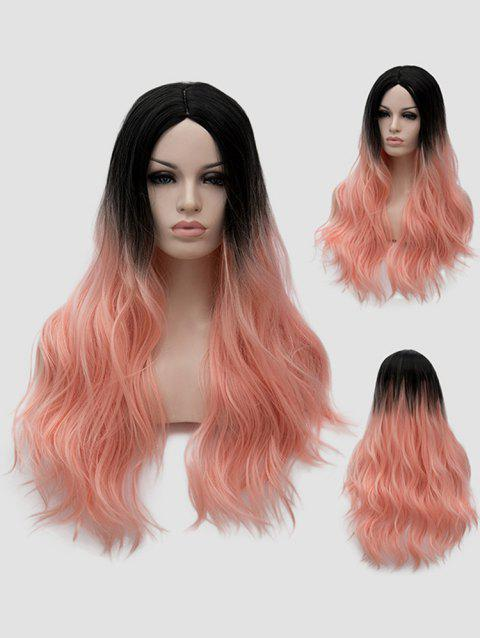 Long Center Parting Ombre Slightly Curly Anime Cosplay Synthetic Wig - multicolor C