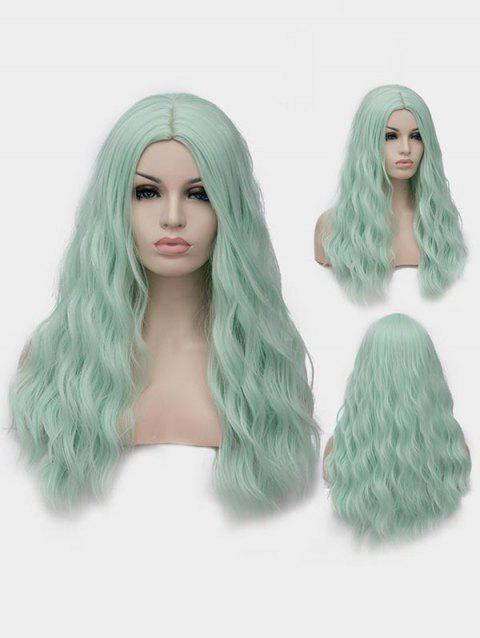 Long Center Parting Natural Wavy Cosplay Lolita Synthetic Wig - BLUE GREEN