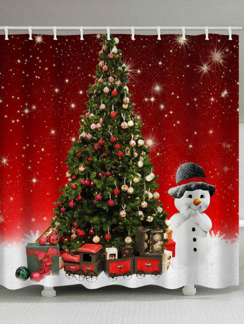 Christmas Tree Snowman Print Waterproof Shower Curtain - RED W59 X L71 INCH