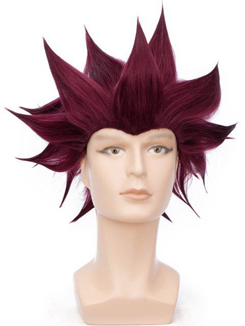 Short Straight Anime Party Synthetic Cosplay Wig - RED WINE