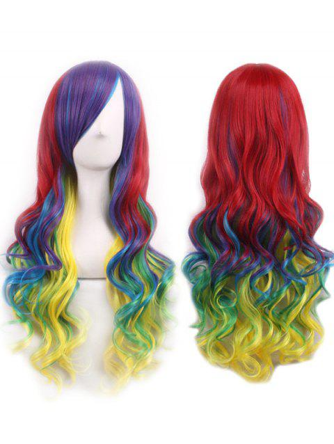 Long Inclined Bang Rainbow Wavy Cosplay Party Synthetic Wig - multicolor