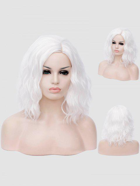 Medium Inclined Parting Natural Wavy Cosplay Synthetic Wig - WHITE