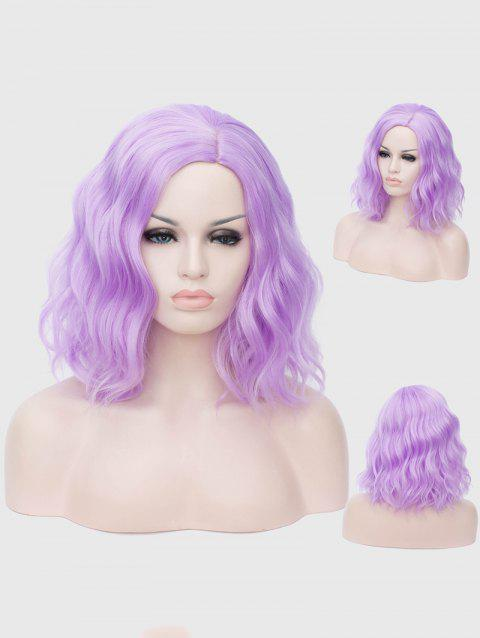 Medium Inclined Parting Natural Wavy Cosplay Synthetic Wig - PURPLE FLOWER
