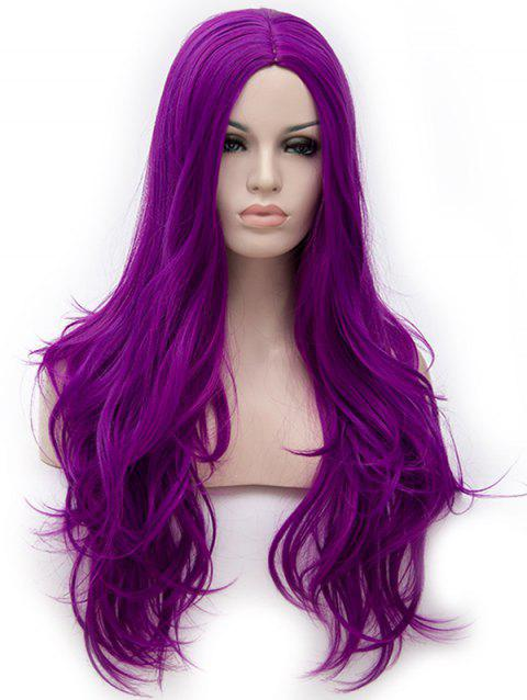 Long Center Parting Wavy Anime Cosplay Synthetic Wig - PURPLE