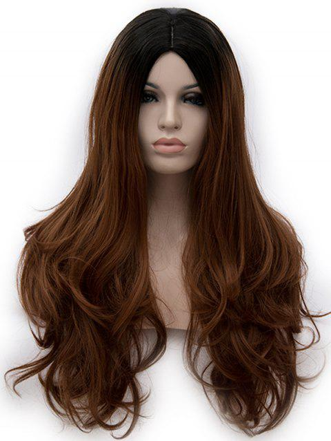 Middle Part Ombre Long Slightly Curly Party Anime Synthetic Wig - multicolor B