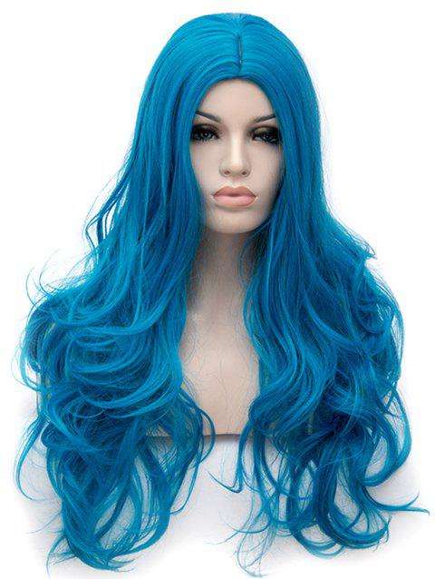 Long Center Parting Wavy Anime Cosplay Synthetic Wig - BLUE